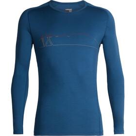 Icebreaker M's 200 Oasis Deluxe Raglan Single Line Ski LS Crewe Shirt Prussian Blue